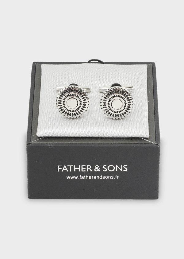 Boutons de manchettes ronds argent - Father and Sons 4806