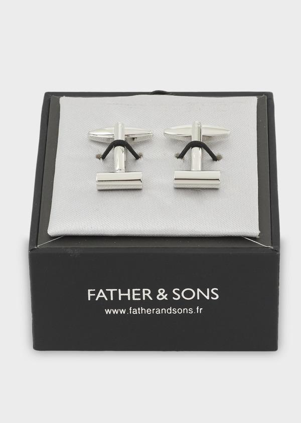 Boutons de manchettes bâtons striés argent - Father and Sons 4810