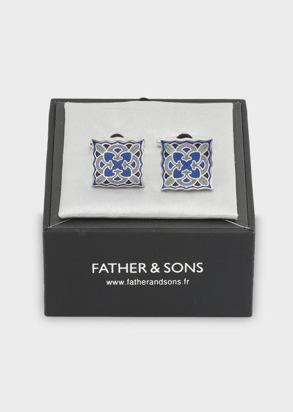 Boutons de manchettes fantaisie carrés à motifs bleus - Father and Sons 4834