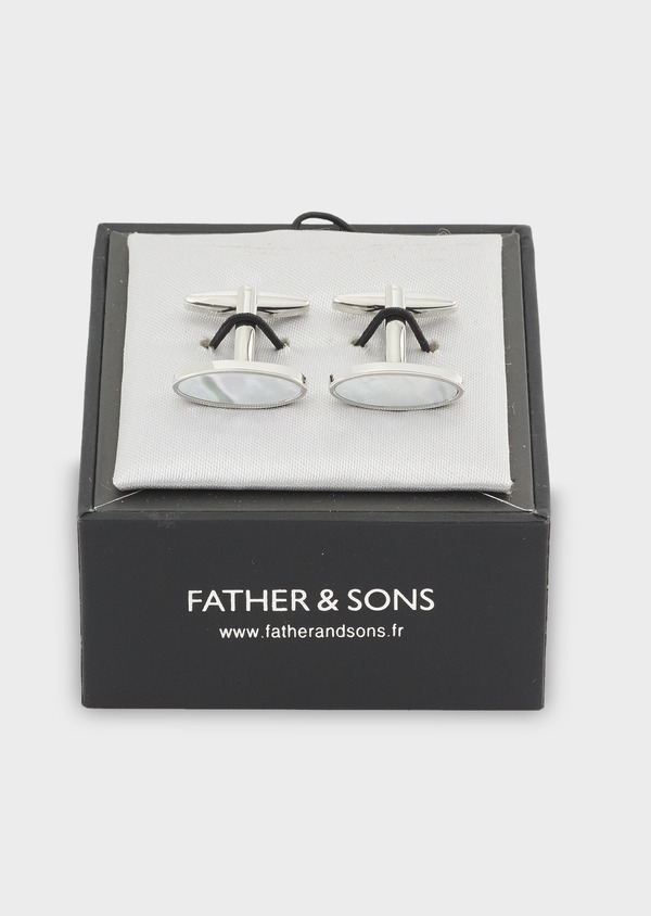Boutons de manchettes ovales blancs - Father and Sons 4786