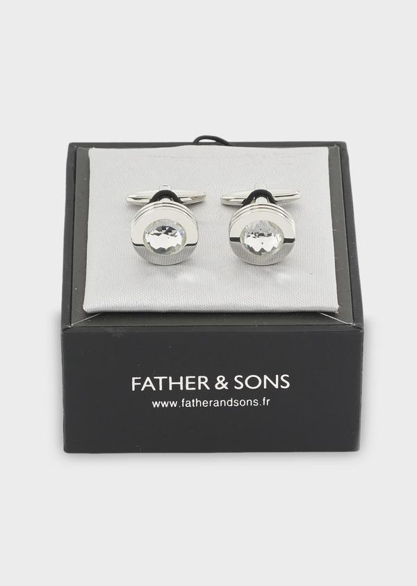 Boutons de manchettes ronds argent et blanc - Father and Sons 4822