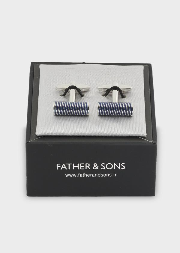 Boutons de manchettes bâtons à rayures bleu clair - Father and Sons 4794