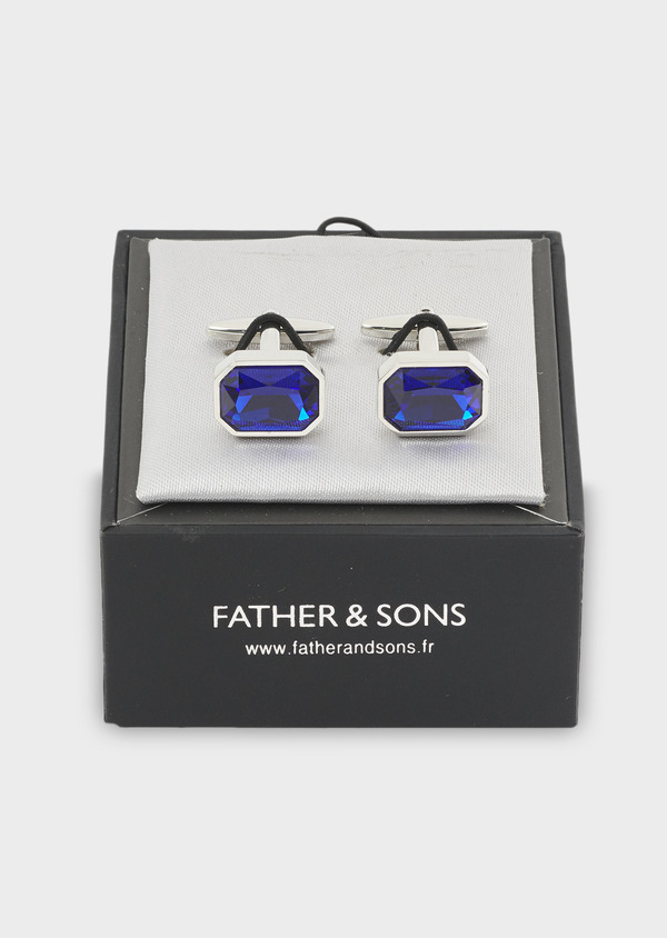 Boutons de manchettes ovales bleu clair - Father and Sons 4798