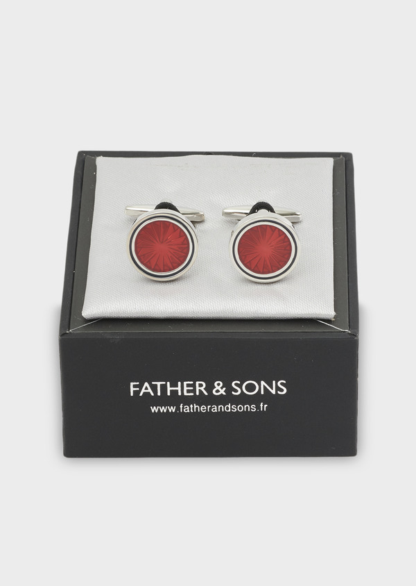 Boutons de manchettes ronds rouges - Father and Sons 4782