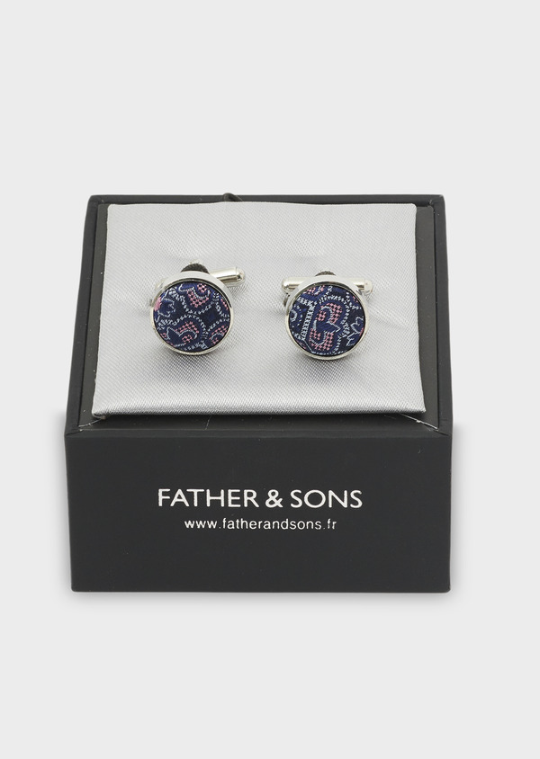 Boutons de manchettes fantaisie ronds bleu et rose en soie - Father and Sons 4838