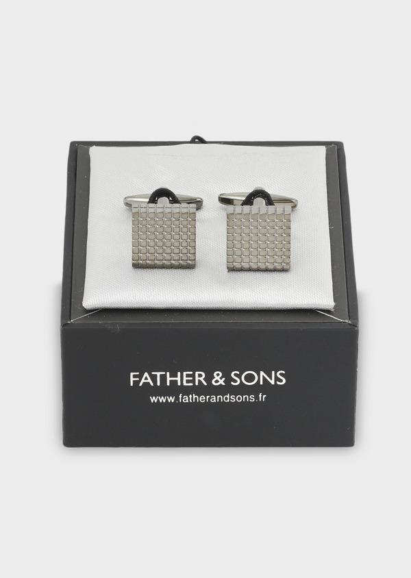Boutons de manchettes carrés reliefés noirs - Father and Sons 4826