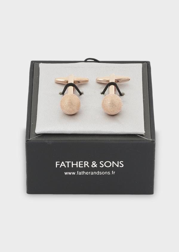 Boutons de manchettes boules reliefées dorées - Father and Sons 4814