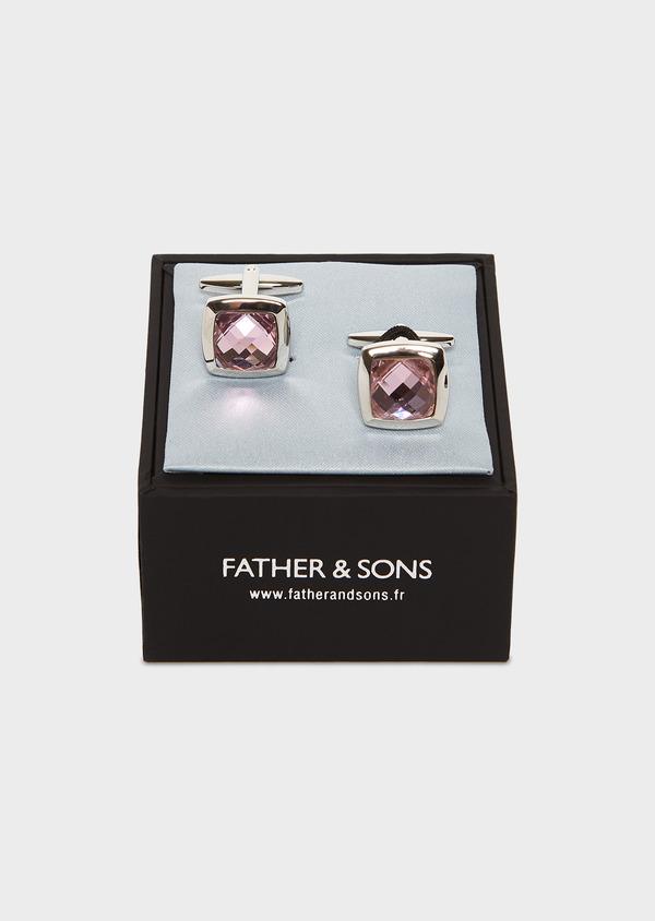 Boutons de manchettes carrés rose clair - Father and Sons 4830