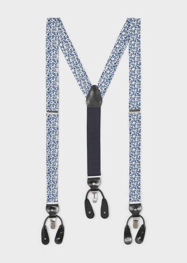 Bretelles blanches à motif fleuri bleu et gris clair - Father and Sons 4845