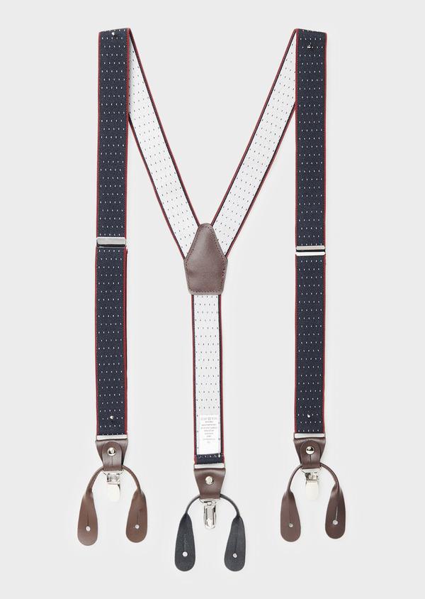 Bretelles fines bleues à pois blancs et bords rouges - Father and Sons 8570