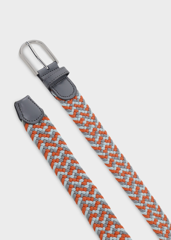 Ceinture tressée gris clair et orange - Father and Sons 4934