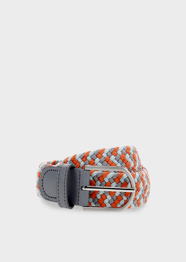 Ceinture tressée gris clair et orange - Father and Sons 4933