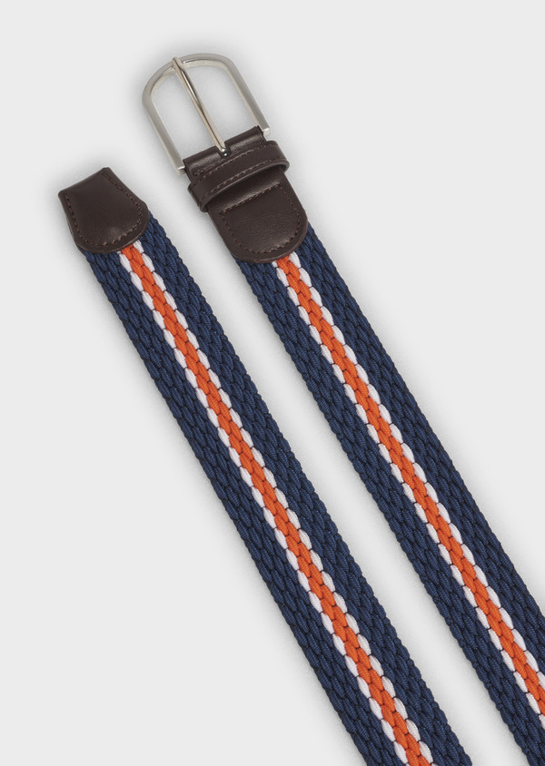 Ceinture tressée rayée marine et orange - Father and Sons 4958