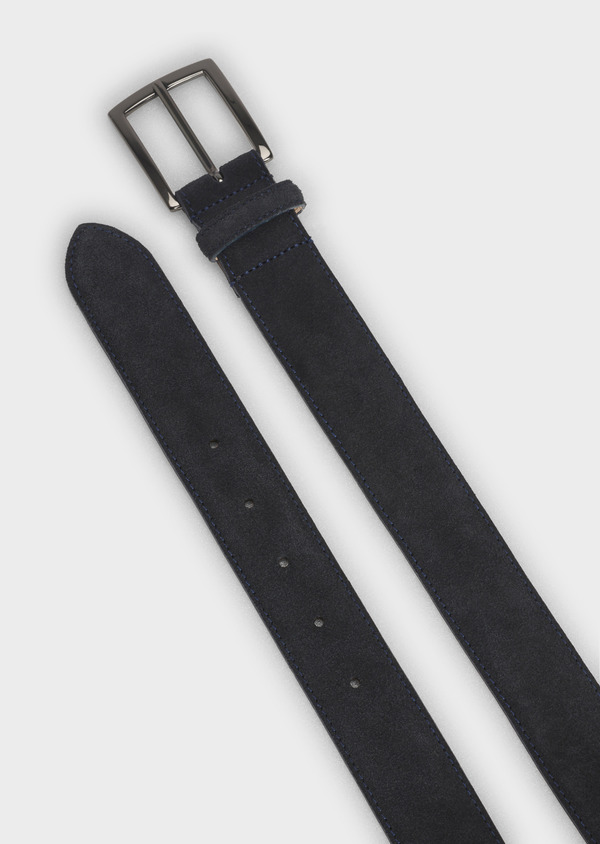 Ceinture en cuir velours uni marine - Father and Sons 4902