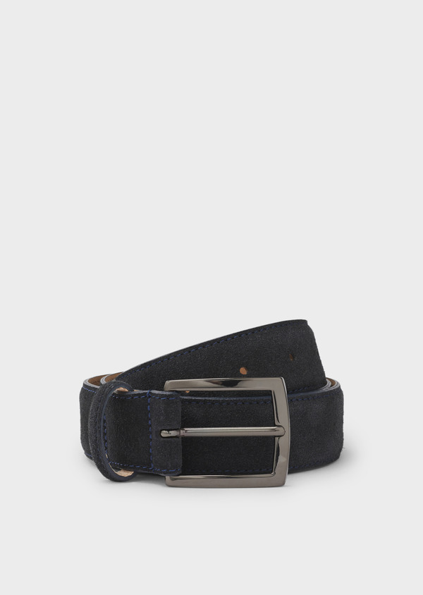 Ceinture en cuir velours uni marine - Father and Sons 4901