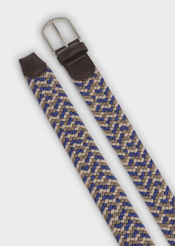 Ceinture tressée bleu et beige - Father and Sons 4942