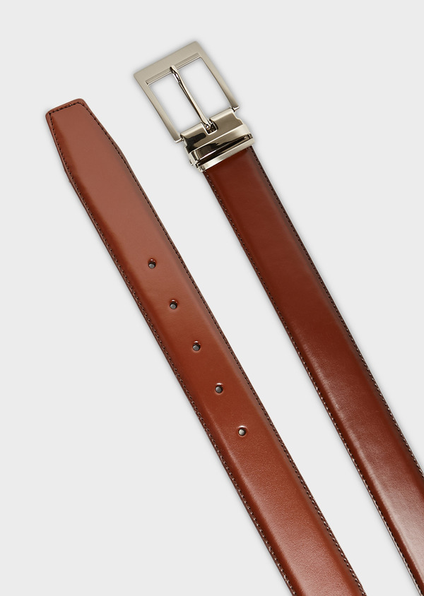 Ceinture ajustable et réversible en cuir lisse marron - Father and Sons 8581