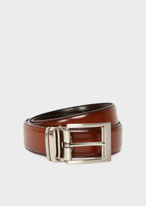 Ceinture ajustable et réversible en cuir lisse marron - Father and Sons 8580