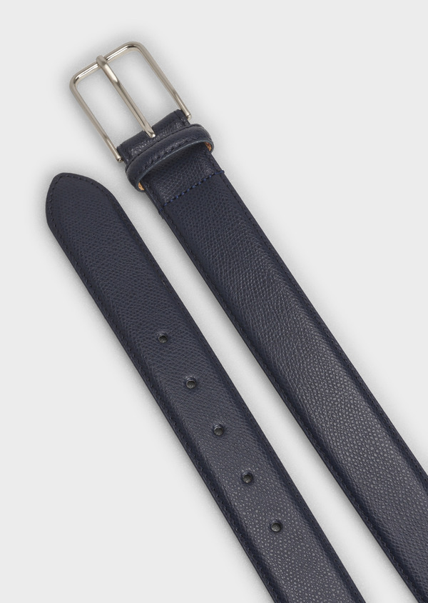 Ceinture en cuir grainé uni bleu - Father and Sons 4878
