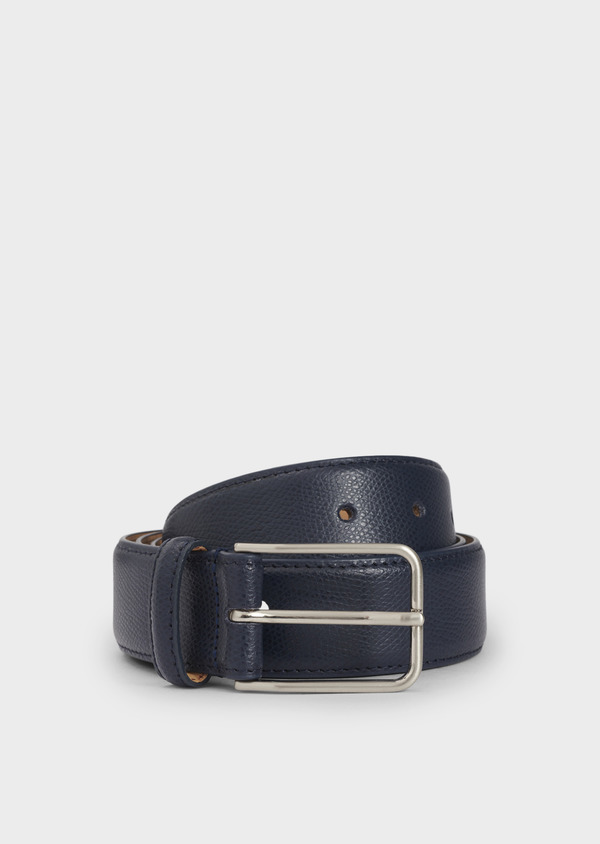 Ceinture en cuir grainé uni bleu - Father and Sons 4877