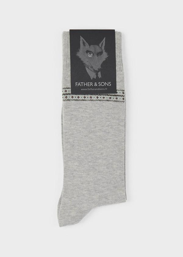 Chaussettes en coton mélangé gris clair à motif fantaisie vert foncé et rose - Father and Sons 7855