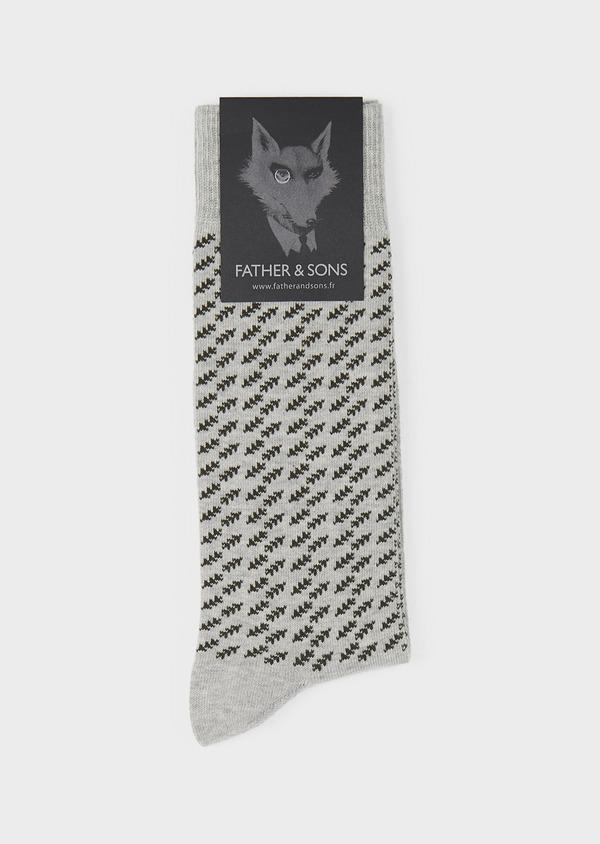 Chaussettes en coton mélangé gris clair à motif fantaisie vert foncé - Father and Sons 7863