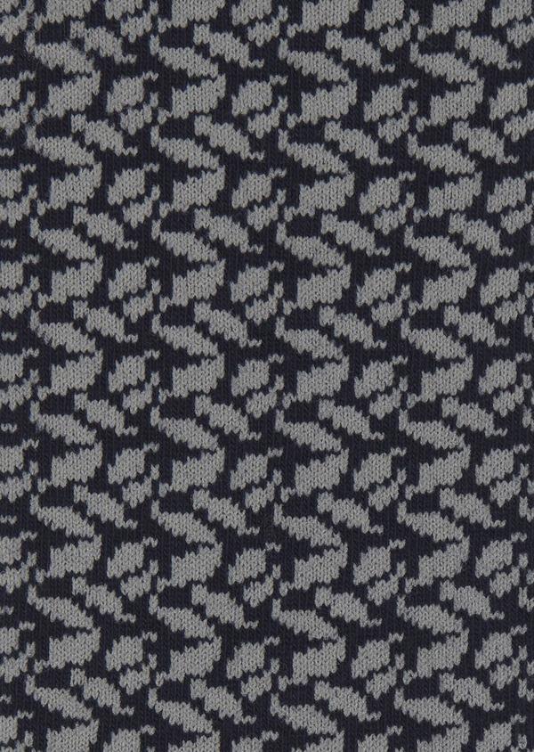 Chaussettes en coton mélangé bleu foncé à motif fantaisie gris clair - Father and Sons 7896