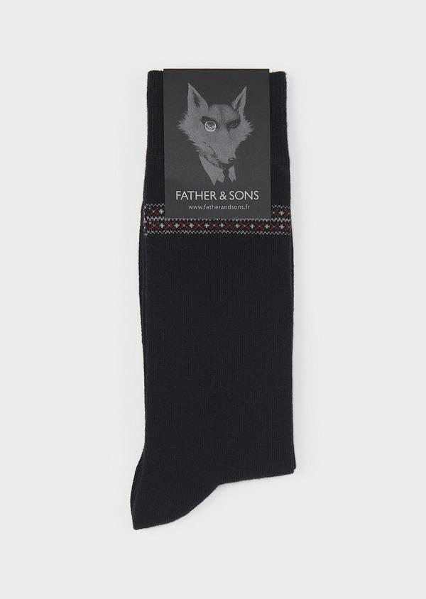 Chaussettes en coton mélangé noir à motif fantaisie bordeaux et gris clair - Father and Sons 7883
