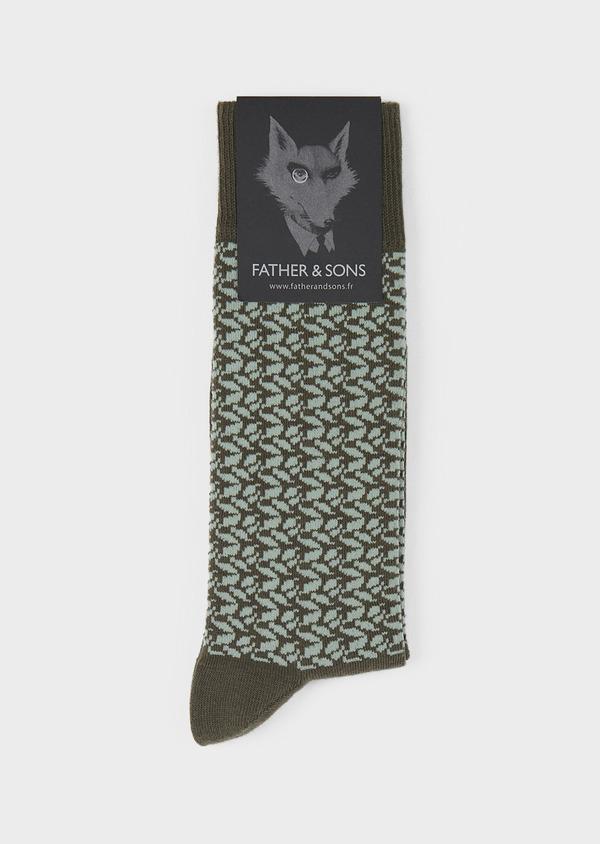Chaussettes en coton mélangé vert kaki à motif fantaisie vert clair - Father and Sons 7859