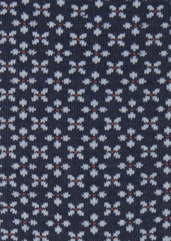 Chaussettes en coton mélangé bleu foncé à motif fleuri bleu clair et orange - Father and Sons 7876