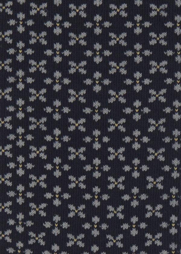 Chaussettes en coton mélangé bleu foncé à motif fleuri gris clair - Father and Sons 7904