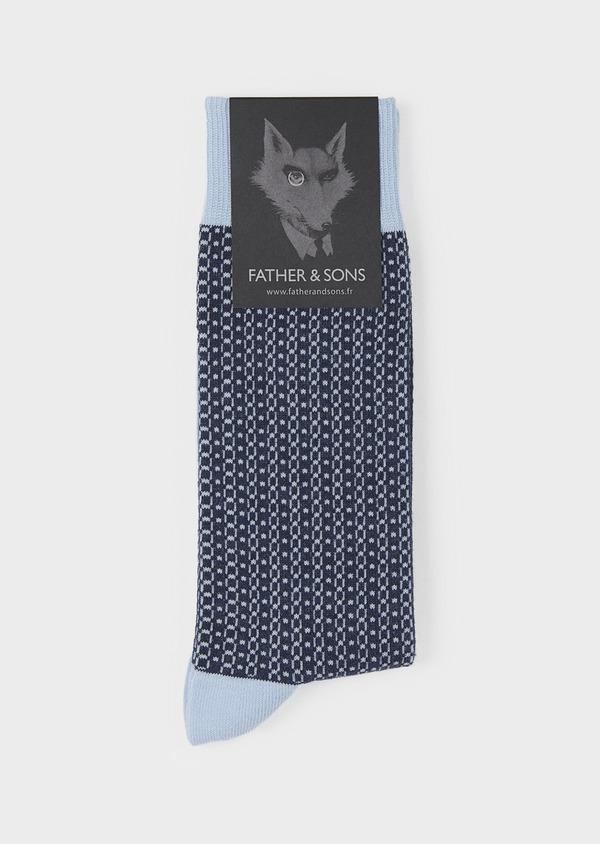 Chaussettes en coton mélangé bleu clair à motif fantaisie marine - Father and Sons 7867