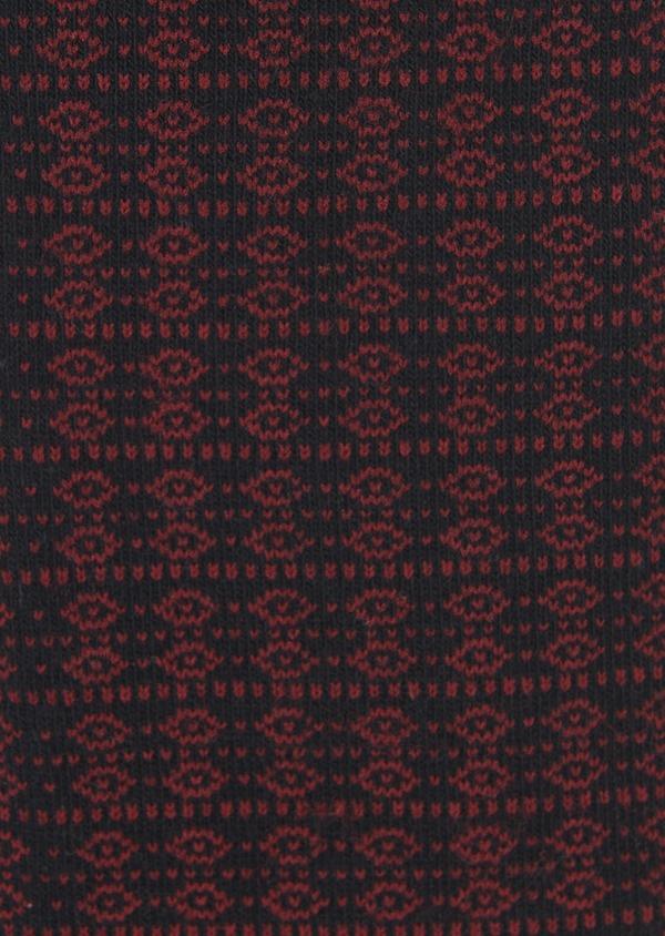 Chaussettes en coton mélangé noir à motifs géométriques bordeaux - Father and Sons 7892