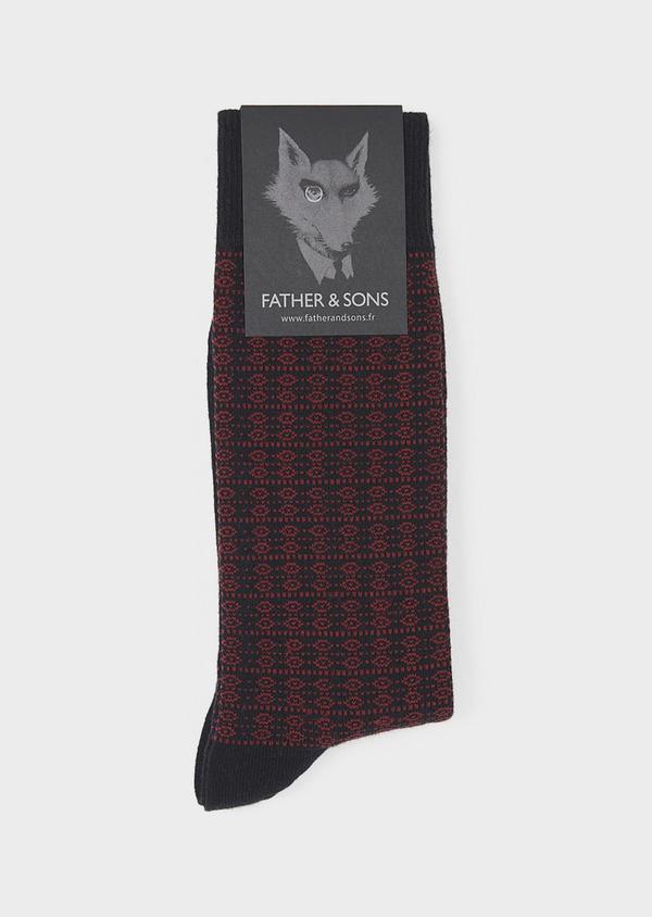 Chaussettes en coton mélangé noir à motifs géométriques bordeaux - Father and Sons 7891