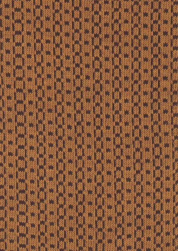 Chaussettes en coton mélangé marron à motifs géométriques marron foncé - Father and Sons 7928