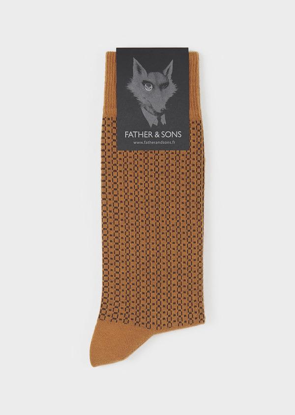 Chaussettes en coton mélangé marron à motifs géométriques marron foncé - Father and Sons 7927