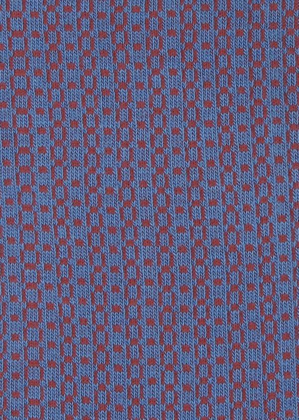 Chaussettes en coton mélangé bleu roi à motifs géométriques roses - Father and Sons 7912