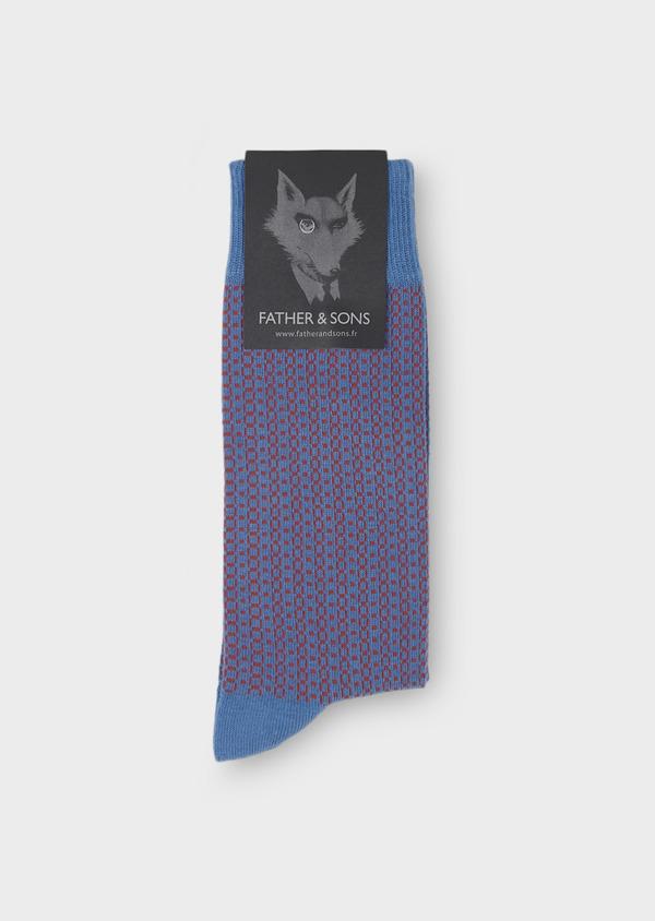 Chaussettes en coton mélangé bleu roi à motifs géométriques roses - Father and Sons 7911