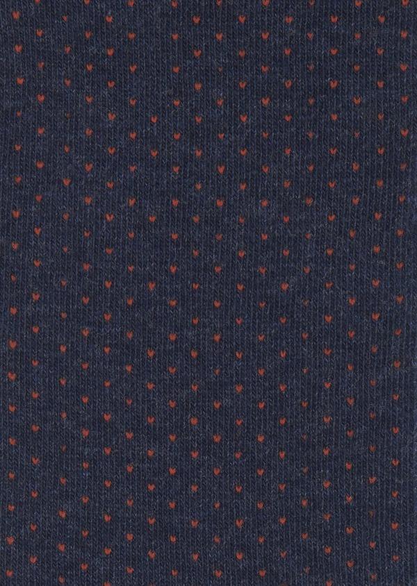 Chaussettes en coton mélangé bleu foncé à pois orange - Father and Sons 7872