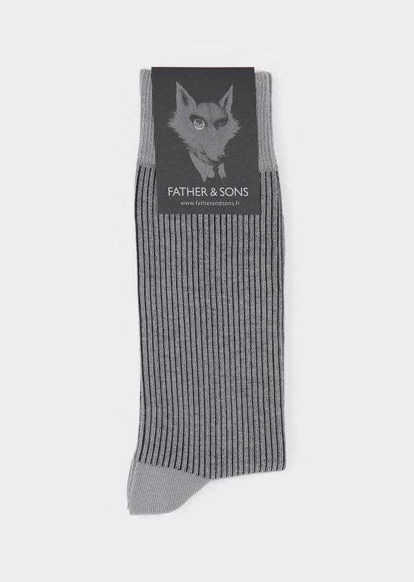 Chaussettes en coton mélangé gris-bleu à rayures noires - Father and Sons 7887