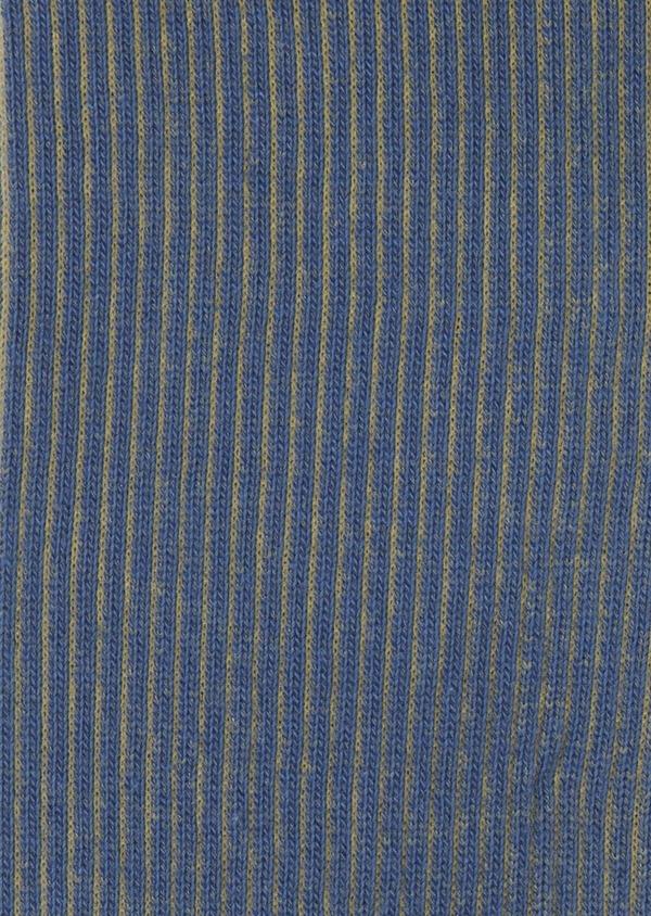 Chaussettes en coton mélangé bleu à rayures jaunes - Father and Sons 7908