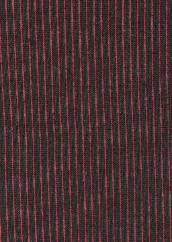 Chaussettes en coton mélangé marron foncé à rayures rouges - Father and Sons 7932