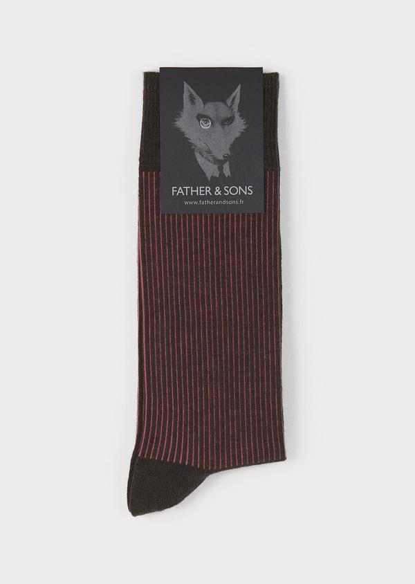 Chaussettes en coton mélangé marron foncé à rayures rouges - Father and Sons 7931