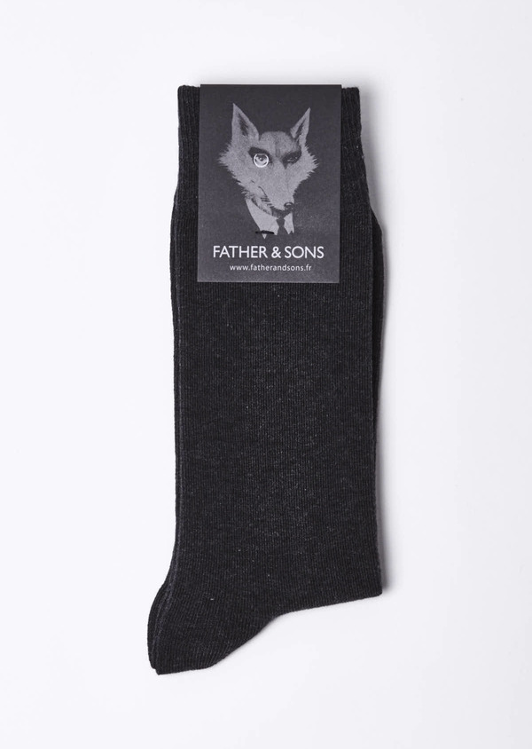 Chaussettes en coton mélangé uni gris anthracite chiné - Father and Sons 9059