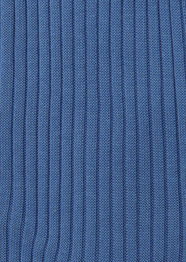 Chaussettes en coton fil d'Ecosse uni bleu foncé - Father and Sons 8008