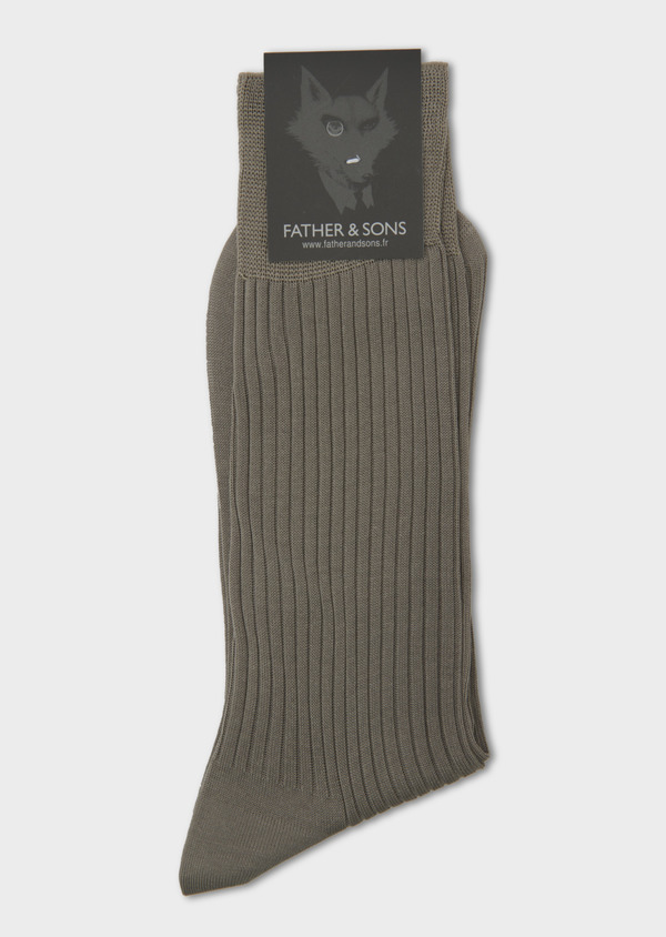 Chaussettes en coton fil d'Ecosse uni beige - Father and Sons 7991