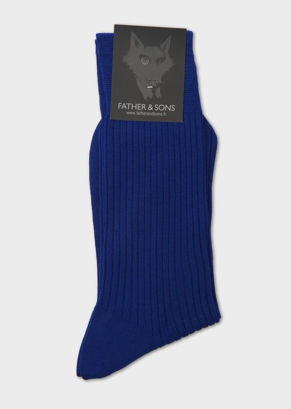 Chaussettes en coton fil d'Ecosse uni bleu clair - Father and Sons 8011