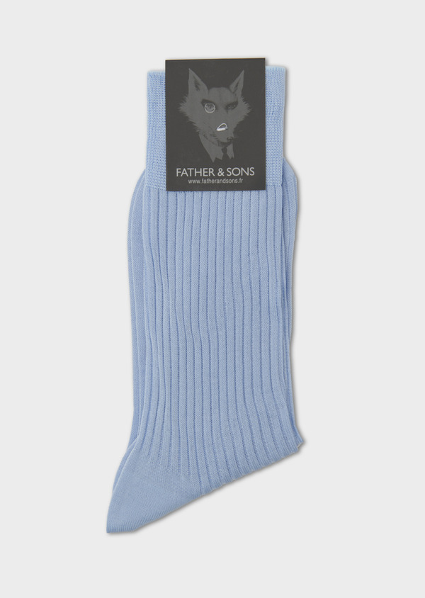 Chaussettes en coton fil d'Ecosse uni bleu ciel - Father and Sons 7987