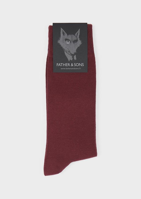 Chaussettes en coton mélangé uni rouge - Father and Sons 7979