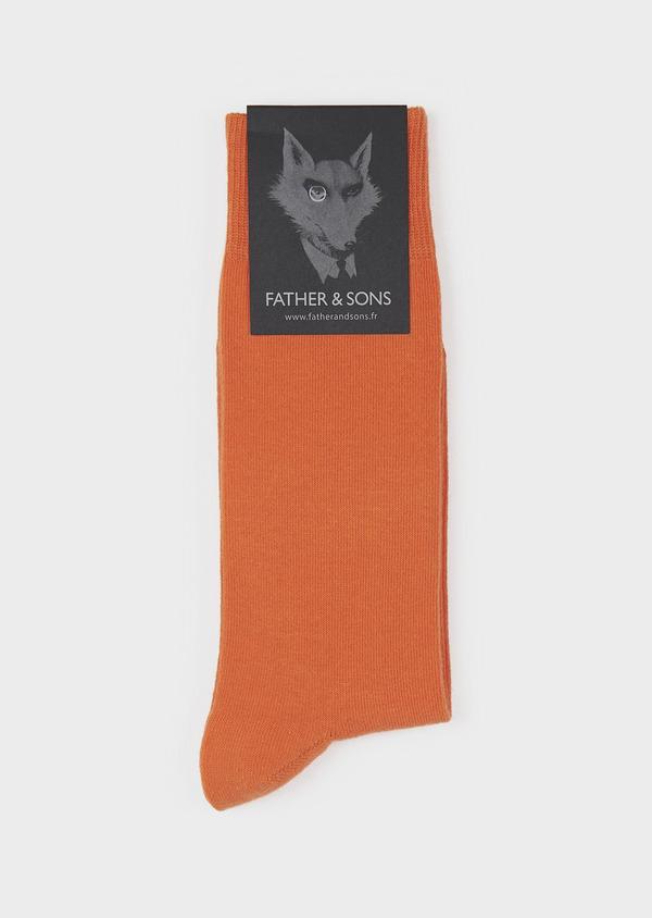 Chaussettes en coton mélangé uni orange - Father and Sons 7975
